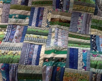 Handmade throw in patchwork-reversible