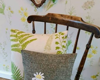 Hand Crafted Harris Tweed flower cushion cover