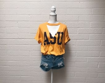 Athletic Yellow Gold ASU cut out distressed tee - Arizona State University Athletic Cut Out Tshirt - Medium