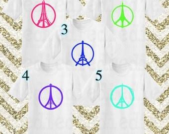 Custom Peace Paris Eiffel Tower Shirt Man Shirt Woman Shirt Girl Shirt Boy Shirt Custom T Shirt