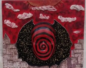 Original 3D wall art, Sci Fi wall art, Red black mask, Wall mask, Decorative mask art, Unusual wall art, Unique wall decor, Unique handmade