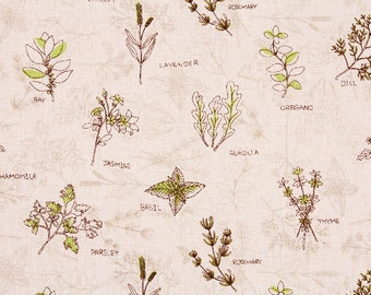 """Herb Jasmine Lavender Parsley Basil Thyme Chamomile Rosemary Linen Cotton Fabric made in Korea 45cm by 140cm or 18"""" by 55"""" by the Half Yard"""