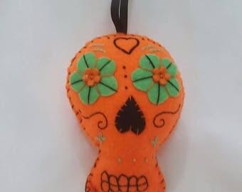 Orange felt sugar skull