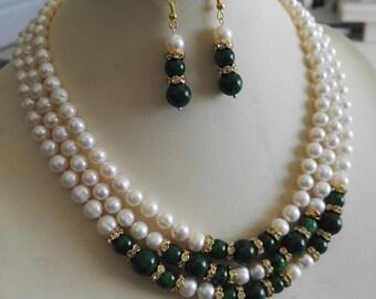 Genuine cultured 3 row 7-8mm white fresh water pearl & 8-10mm dark green jade wedding necklace earring set