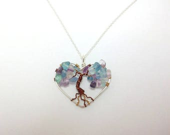 Tree of life necklace, Fluorite stone pendant