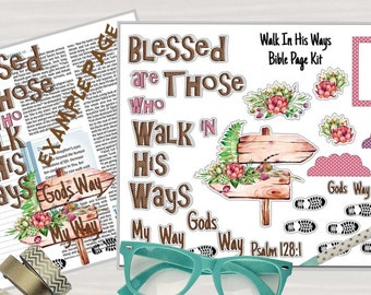 "Printable Bible Journaling Page Kit - ""Blessed"" - Complete kit for Bible Pages or Journals. Fits all Journaling Bibles."
