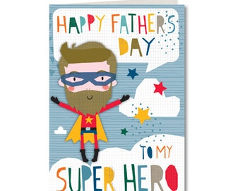 SPECIAL OFFER! Was 1.99, Now 1.50 - Cut-Out Cuties - Happy Fathers Day To My super Hero - Father - Dad - CO41