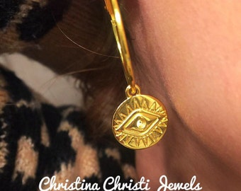 Gold Rings Earrings, Gold Hoop Earrings, Evil Eye Earrings, Evil Eye Jewelry, Earrings for Women, Made in Greece by Christina Christi Jewels