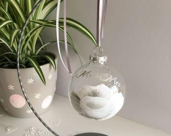 Wedding Bauble Hand Painted Silver Gift Unusual
