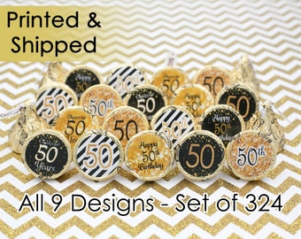 50th Birthday Party Decorations - 50th Birthday Gold & Black - 50th Birthday Party Favors - 50 Over the Hill - Cheers to 50 - 324 Stickers
