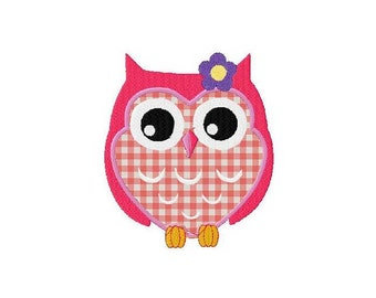Machine embroidery cute applique owl