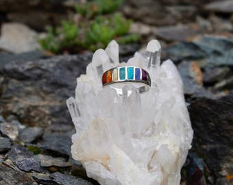 Chakra Ring - Seven Chakra color stones - Chakra Jewelry - Silver Jewelry - Peruvian Jewelry - Stone Ring - Yoga Jewelry - Spiritual ring