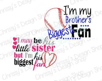 Baseball sister fan svg / brothers fan svg / biggest baseball fan svg / baseball cut file / love baseball svg / dxf / eps / pdf / JPG / PNG