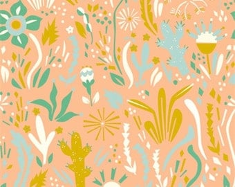Organic Fabric, Floral Fabric, Happy Floral, Birch Organic  Fabrics, Coral Fabric,  Fabric by the yard