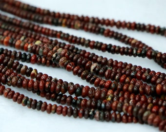 """Natural Genuine Red BRECIATED Jasper Small Rondelle Loose Beads Fit Jewelry Necklace Bracelets 2x5mm 15"""" 03249"""