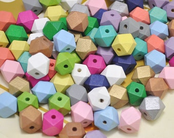 50pcs Hand Painted beads,15mm Colorful Geometric Wood Beads,Pastel wooden Beads, Geometric necklace/bracelet Jewelry.