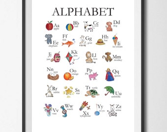 Alphabet Chart, ABC Chart, Watercolour Nursery art
