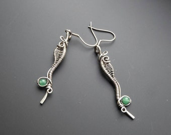 Aventurine earrings, wire wrap earrings, wire jewelry, drop earrings, silver jewelry, gift for her, silver earrings, ladies jewellery