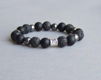 Black lava, hematite black matte stone bracelet, Zodiac astrology sign, Scorpio zodiac sign bracelet, men women bracelet