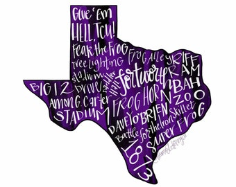 DIGITAL DOWNLOAD Texas Christian University TCU Horned Frogs Typography Printable Wall Art, Give 'Em Hell, Go Frogs, Fort Worth