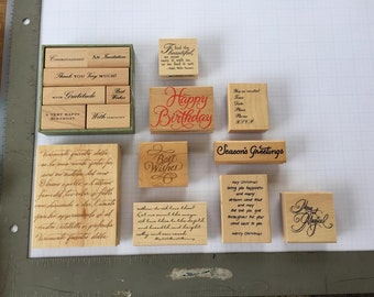 Card Saying Ink Stamps (Lot of 16)