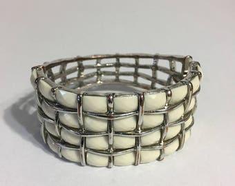 Silver Tone Bracelet - White Lucite - Bold Bracelet