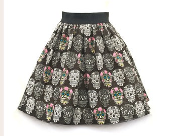 Skull Skirt, Sugar Skull Dress, Brown Sugar Skull Skirt, Flower Skull Skirt, Skull Party Dress, The Day of the Dead Print Skull Skirt