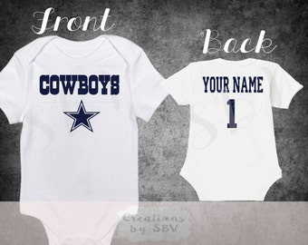 Dallas Cowboys customized baby bodysuit, Cowboys Football bodysuit, Cute Cowboys bodysuit, baby Cowboys, Clothing Football Sports