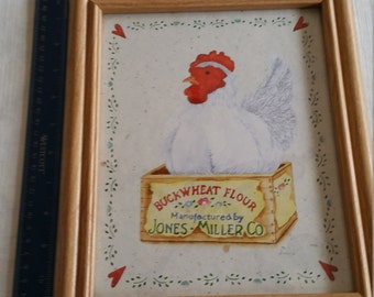 vintage framed chicken / hen print - buckwheat flour - jones miller co advertising - wooden frame rooster picture farm litho signed art sami