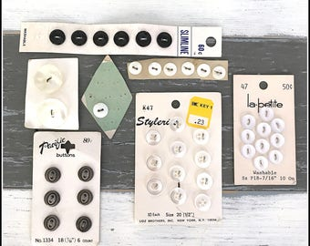 Vintage Buttons on Button Cards - Assorted Buttons - Button Lot - Vintage Buttons