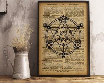 Magic circle Occult symbol print, Magic illustration, esoteric print summoning spirits, Vintage style dictionary print  (AL05)