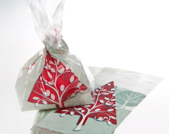 Pack of 20 FROSTED HOLIDAY Christmas Cellophane Bags - Perfect for Homemade Christmas Gifts