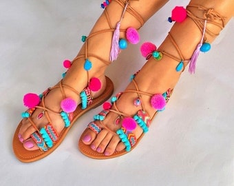 Pom Pom Sandals  ''Lollipop'',Tie Up sandals, Lace Up Sandals, Boho Gladiator Sandals in pink and turquoise shades