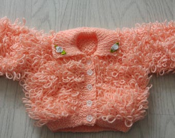 Gorgeous handknit loopy baby girl cardigan