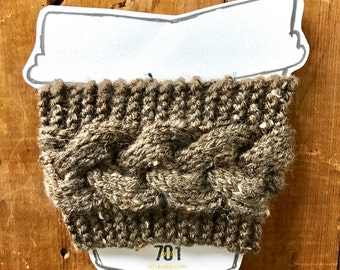 Braided Coffee Sleeve, Knit coffee sleeve, Brown, Knit Coffee wrap, knit mug sleeve, knit coffee sweater, knit can cooler, coffee gifts