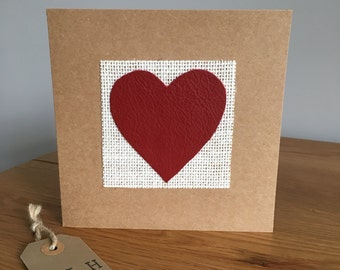 Red Leather Heart 'Love' Greeting Card