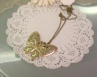 bronze necklace with large Butterfly pendant