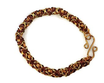 Handmade Gold, Antique Bronze and Copper colored copper Chain Maille (chain link) Bracelet. 7.5""