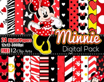 Minnie Mouse Red digital paper FREE Clip art, scrapbook papers, wallpaper, Minnie background, polka dots, red Black digital papers