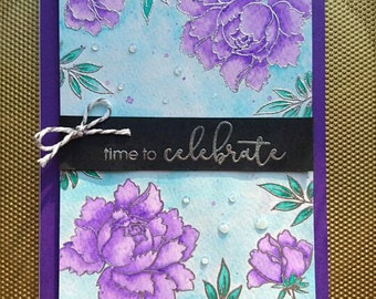 Time to Celebrate card, birthday card, greeting card