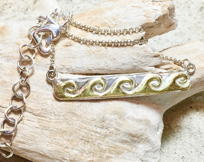 Sterling and Fine Silver Bar Necklace With Gold Plated Waves