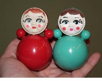Unused Set of 2 Soviet roly-poly toys . Nevalyashka. Vintage Celluloid. Tilting doll USSR. tilting doll. Soviet toy