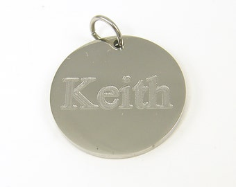 Personalized Women's or Men's Pendant, Custom Engraved Name Pendant, Custom Gift for Him or for Her Stainless Steel Jewelry |2583/2610