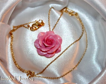 Pink Rose Cabochon Necklace Country Chic Flower Jewelry Pastel Fashion Floral Jewellery   Botanical French Style