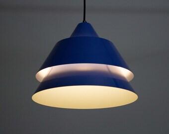 Beautiful blue Zone pendant light by Jo Hammerborg for Fog & Mørup