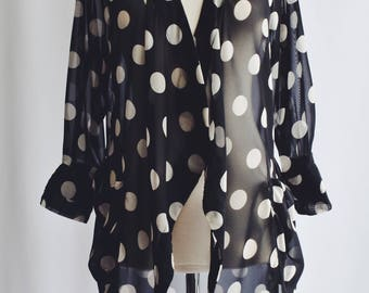 Transparent blouse polka dots