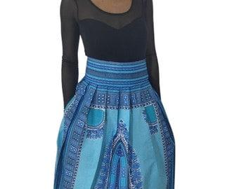 African skirt, Dashiki maxi skirt, African clothing, African print maxi skirt, African maxi skirt, Blue African print maxi skirt