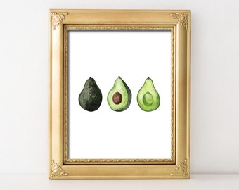 Watercolor Avocados Printable Wall Art Kitchen Decor Kitchen Print Kitchen Printable Kitchen Wall Decor Avocado Print Avocado Printable Art