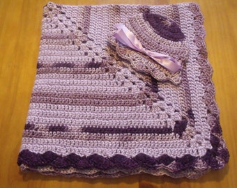 "NEW Handmade Crochet 28.5"" Baby Blanket and Hat/Beanie Set - Grape Light Dark Purple Variegated - A Wonderful Baby Shower Gift!! - SEE NOTE!"