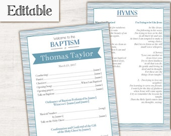 Baptism Program, Editable PDF, Printable Digital Handout boy Baptism, Blue, Boy Baptism, Baptism template